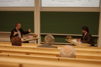 Arun Rana defend his thesis in urban hydrology. Here in discussion with Karsten Arnbjerg-Nielsen from DTU.