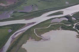 Sediment transport seen from above. In Sarek National Park.