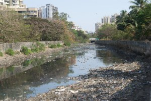 Solid waste in stormwater system in Mumbai