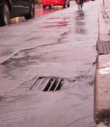 Stormwater inlet in street
