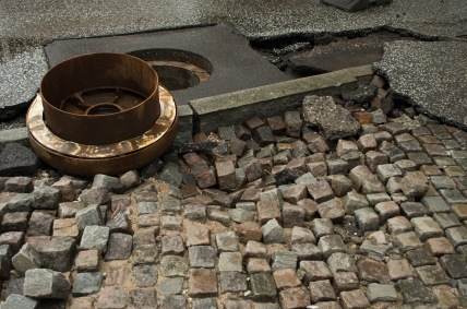 Flooding in Copenhagen 31st of August 2014 – destroyed manhole