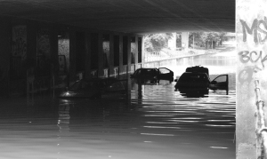 Cars flooded in Copenhagen 2014